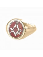 Masonic 9ct Gold Red Square and Compass Ring with Reversible Head