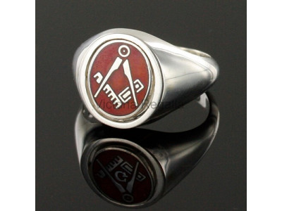 Masonic Solid Silver Square and Compass Ring with Reversible Head