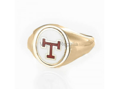 Masonic 9ct Gold Triple Tau Ring with Reversible Head