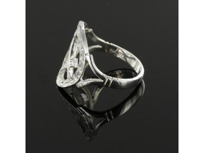 Masonic Ring - Small Silver Pierced Design Square and Compass Masonic Ring