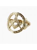 Masonic Ring - Small Gold Pierced Design Square and Compass Masonic Ring
