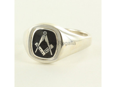Masonic Silver Square and Compass Ring with Reversible Cushion Head (Black)