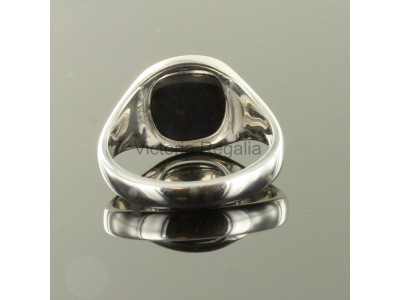 Masonic Silver Square, Compass and G Ring with Reversible Cushion Head (Black)
