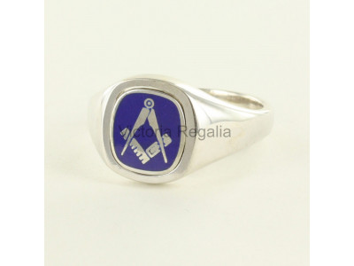 Masonic Silver Square and Compass Ring with Reversible Cushion Head (Blue)