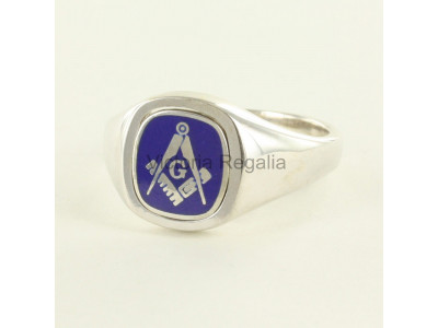 Masonic Silver Square, Compass and G Ring with Reversible Cushion Head (Blue)