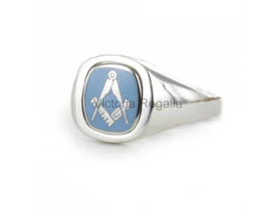Masonic Silver Square and Compass Ring with Reversible Cushion Head (Light Blue)