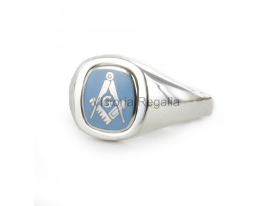 Masonic Silver Square, Compass and G Ring with Reversible Cushion Head (Light Blue)