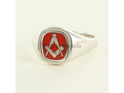 Masonic Silver Square and Compass Ring with Reversible Cushion Head (Red)