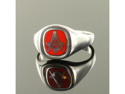 Masonic Silver Square, Compass and G Ring with Reversible Cushion Head (Red)