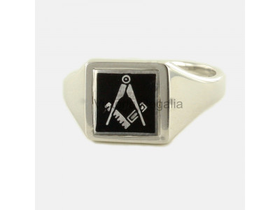 Masonic Silver Square and Compass Ring with Reversible Square Head (Black)