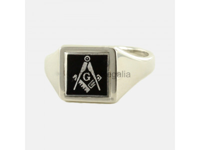 Masonic Silver Square, Compass and G Ring with Reversible Square Head (Black)