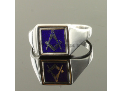 Masonic Silver Square and Compass Ring with Reversible Square Head (Blue)
