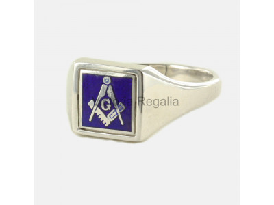 Masonic Silver Square, Compass and G Ring with Reversible Square Head (Blue)