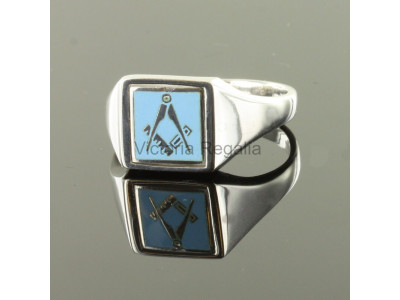 Masonic Silver Square and Compass Ring with Reversible Square Head (Light Blue)