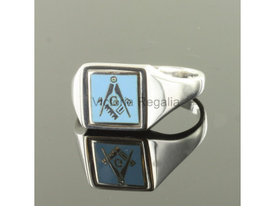 Masonic Silver Square, Compass and G Ring with Reversible Square Head (Light Blue)