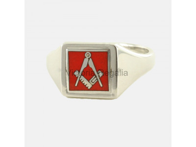 Masonic Silver Square and Compass Ring with Reversible Square Head (Red)