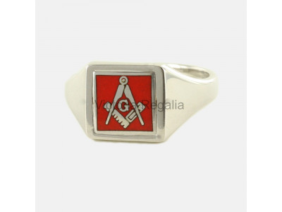 Masonic Silver Square, Compass and G Ring with Reversible Square Head (Red)
