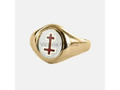Masonic Gold Plated Silver Past Preceptor Ring with Fixed Head
