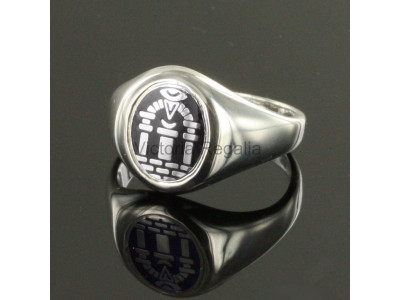 Masonic Solid Silver Royal Arch Ring with Fixed Head (Black)