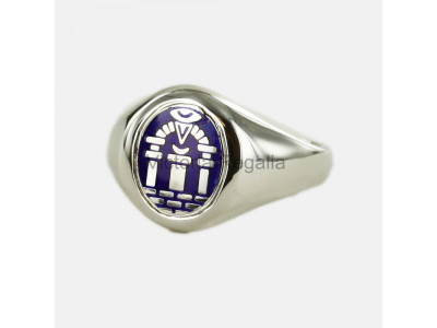 Masonic Solid Silver Royal Arch Ring with Fixed Head (Blue)