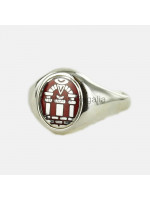 Masonic Solid Silver Royal Arch Ring with Fixed Head (Red)