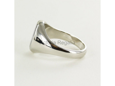 Masonic Silver Square, Compass and G Ring with Fixed Oval Head (Black)