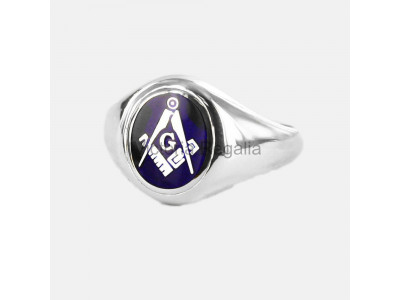 Masonic Silver Square, Compass and G Ring with Fixed Oval Head (Blue)