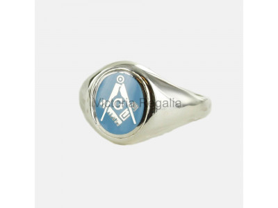 Masonic Silver Square, Compass and G Ring with Fixed Oval Head (Light Blue)