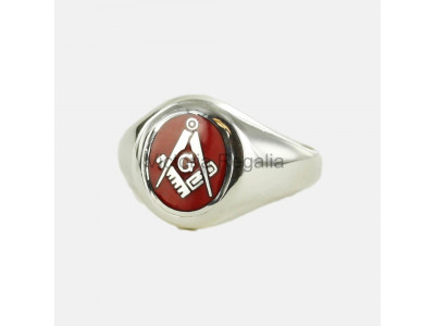 Masonic Silver Square, Compass and G Ring with Fixed Oval Head (Red)