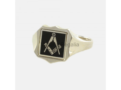 Masonic Silver Square and Compass Ring with Reversible Shield Head (Black)