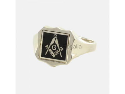 Masonic Silver Square, Compass and G Ring with Reversible Shield Head (Black)