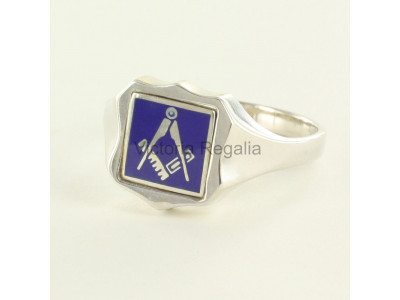 Masonic Silver Square and Compass Ring with Reversible Shield Head (Blue)