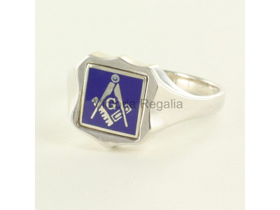 Masonic Silver Square, Compass and G Ring with Reversible Shield Head (Blue)
