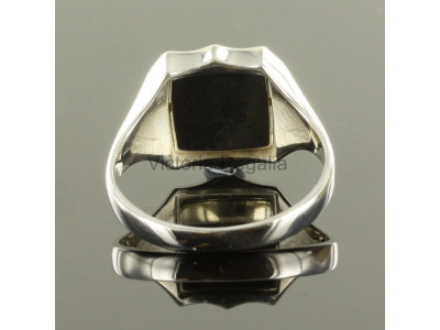 Masonic Silver Square and Compass Ring with Reversible Shield Head (Red)