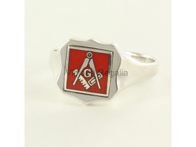 Masonic Silver Square, Compass and G Ring with Reversible Shield Head (Red)