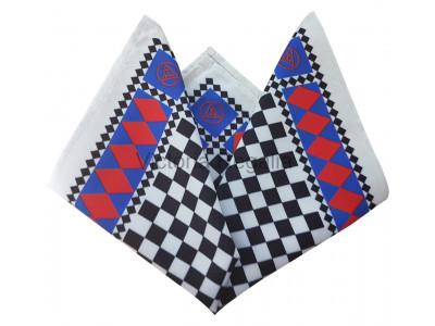 Masonic Royal Arch Chequered Pocket Square with Triple Tau Symbol