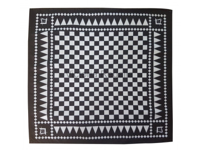 Masonic Chequered Pocket Square with Square, Compass and G Symbol (White)