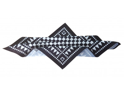 Masonic Chequered Pocket Square with Square, Compasses and G Symbol (White)