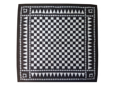 Masonic Chequered Pocket Square with Square and Compass Symbol (White)