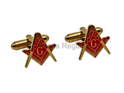 Masonic Cuff Links Red and Gold Square & Compass