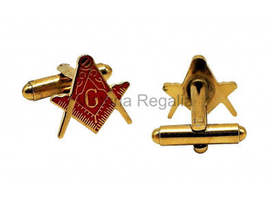 Masonic Square and Compass with G Freemasons Cufflinks - Red and Gold
