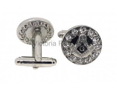 Masonic Square and Compass with G Freemasons Cufflinks - Blue and Silver with Rhinestones