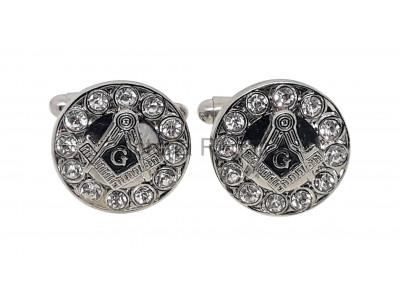 with or without G BLACK Freemasons Masonic Mason Square Cufflinks