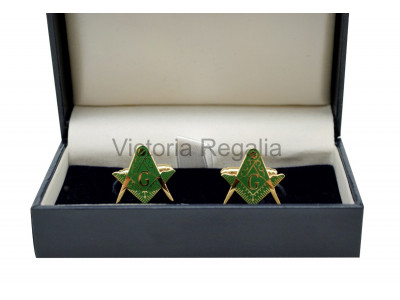 Masonic Square and Compass with G Freemasons Cufflinks - Green and Gold