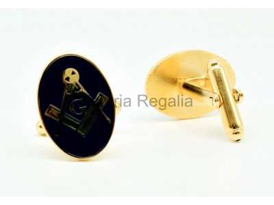 Freemasons Masonic Cuff Links Blue and Gold Square & Compass Oval