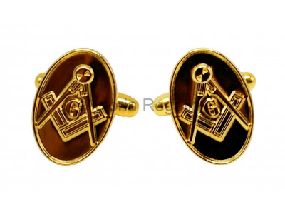 Masonic Gold Square and Compass Freemasons Oval Cufflinks