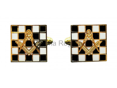 Masonic Chequered Carpet with Square and Compass Freemasons Cufflinks