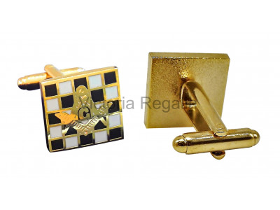 Masonic Chequered Carpet with Square, Compass and G Freemasons Cufflinks