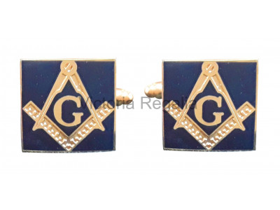 Masonic Square and Compass with G Freemasons Cufflinks - Navy Blue and Gold