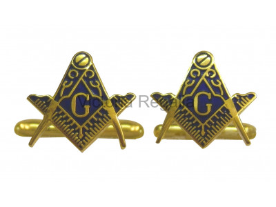 Masonic Square and Compass with G Freemasons Cufflinks - Blue and Gold